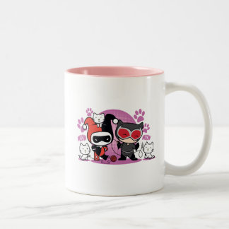 Chibi Harley Quinn & Chibi Catwoman With Cats Two-Tone Coffee Mug