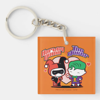 Chibi Harley Quinn & Chibi Joker Hearts Double-Sided Square Acrylic Keychain
