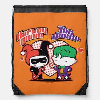 Chibi Harley Quinn & Chibi Joker Hearts Drawstring Bag