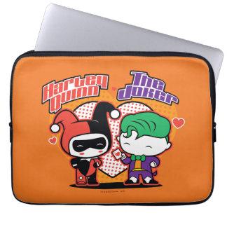 Chibi Harley Quinn & Chibi Joker Hearts Laptop Sleeve