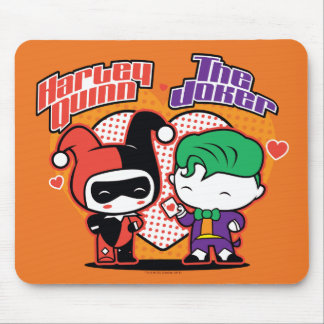 Chibi Harley Quinn & Chibi Joker Hearts Mouse Pad