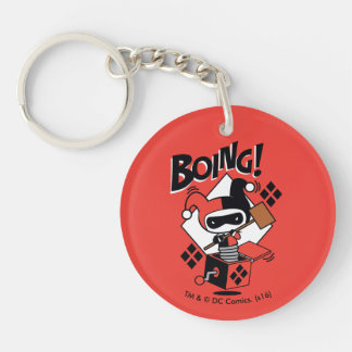 Chibi Harley-Quinn-In-A-Box With Hammer Double-Sided Round Acrylic Keychain