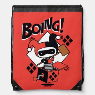 Chibi Harley-Quinn-In-A-Box With Hammer Drawstring Bag