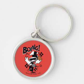 Chibi Harley-Quinn-In-A-Box With Hammer Silver-Colored Round Keychain