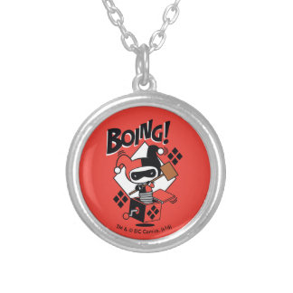 Chibi Harley-Quinn-In-A-Box With Hammer Silver Plated Necklace