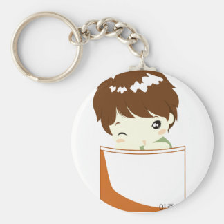 Chibi Hero Pocket Basic Round Button Keychain
