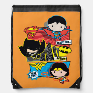 Chibi Heroes Ready For Action! Drawstring Bag