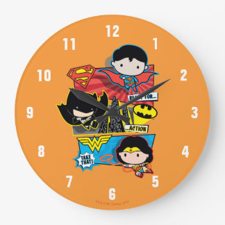 Chibi Heroes Ready For Action! Large Clock