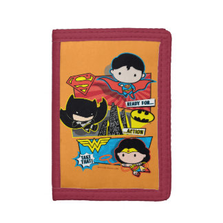 Chibi Heroes Ready For Action! Tri-fold Wallets