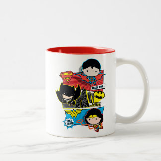 Chibi Heroes Ready For Action! Two-Tone Coffee Mug