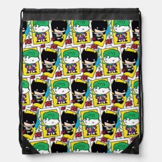 Chibi Joker and Batman Playing Card Pattern Drawstring Bag
