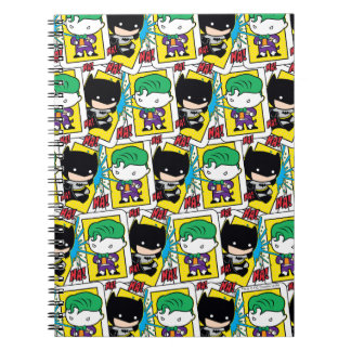 Chibi Joker and Batman Playing Card Pattern Notebook