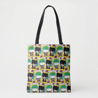 Chibi Joker and Batman Playing Card Pattern Tote Bag