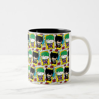Chibi Joker and Batman Playing Card Pattern Two-Tone Coffee Mug