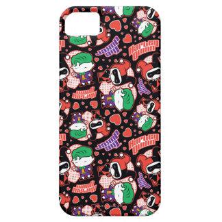 Chibi Joker and Harley Heart Pattern iPhone 5 Case