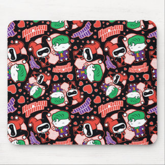 Chibi Joker and Harley Heart Pattern Mouse Pad
