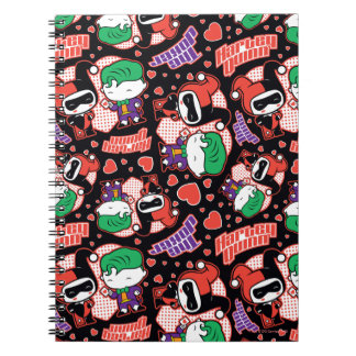 Chibi Joker and Harley Heart Pattern Notebook