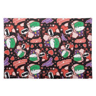 Chibi Joker and Harley Heart Pattern Placemat