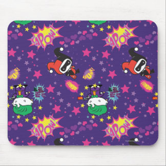 Chibi Joker and Harley Pattern Mouse Pad