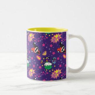 Chibi Joker and Harley Pattern Two-Tone Coffee Mug