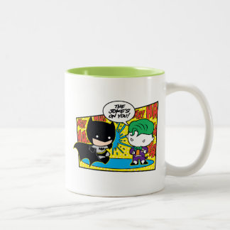Chibi Joker Pranking Chibi Batman Two-Tone Coffee Mug