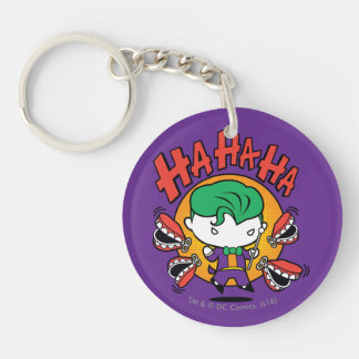 Chibi Joker With Toy Teeth Double-Sided Round Acrylic Keychain