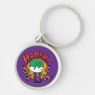 Chibi Joker With Toy Teeth Silver-Colored Round Keychain