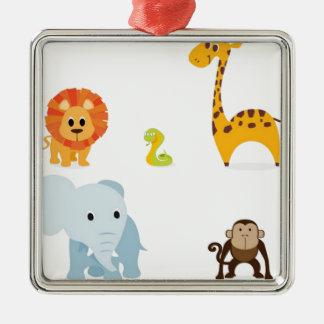 Chibi Jungle Animals design Silver-Colored Square Ornament