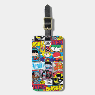 Chibi Justice League Comic Book Pattern Luggage Tag