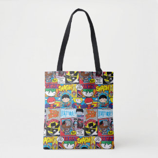 Chibi Justice League Comic Book Pattern Tote Bag