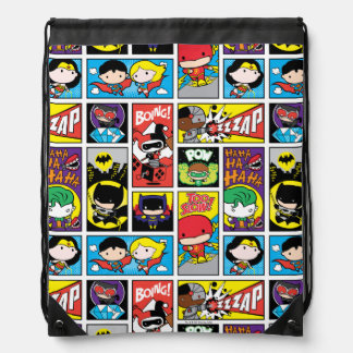 Chibi Justice League Compilation Pattern Drawstring Bag