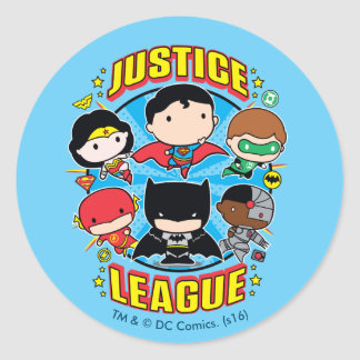 Chibi Justice League Group Round Sticker