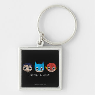 Chibi Justice League Heads Sketch Silver-Colored Square Keychain