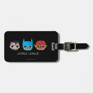 Chibi Justice League Heads Sketch Travel Bag Tags