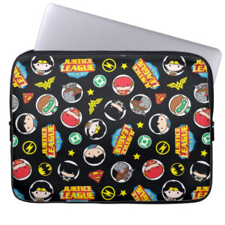 Chibi Justice League Heroes and Logos Pattern Computer Sleeves
