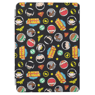 Chibi Justice League Heroes and Logos Pattern iPad Air Cover