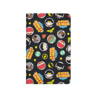 Chibi Justice League Heroes and Logos Pattern Journal