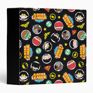 Chibi Justice League Heroes and Logos Pattern Vinyl Binder