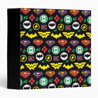 Chibi Justice League Logo Pattern 3 Ring Binder