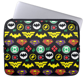 Chibi Justice League Logo Pattern Computer Sleeve