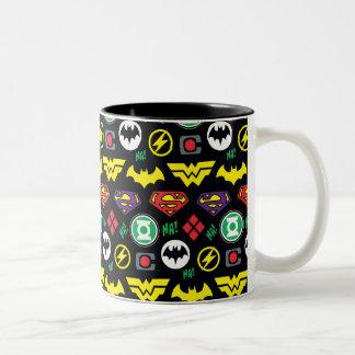 Chibi Justice League Logo Pattern Two-Tone Coffee Mug