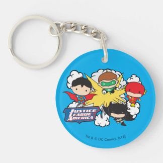 Chibi Justice League of America Explosion Double-Sided Round Acrylic Keychain