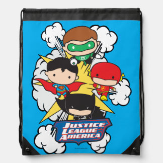 Chibi Justice League of America Explosion Drawstring Bag