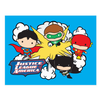 Chibi Justice League of America Explosion Postcard