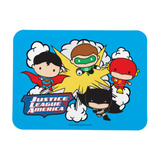 Chibi Justice League of America Explosion Rectangular Photo Magnet