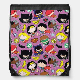 Chibi Justice League Pattern on Purple Drawstring Bag