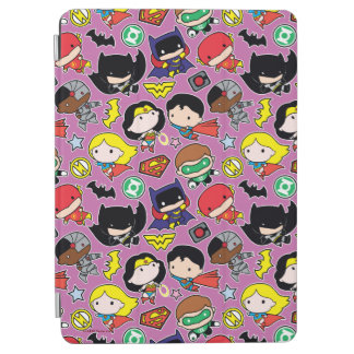 Chibi Justice League Pattern on Purple iPad Air Cover