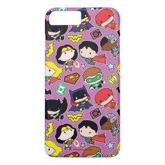 Chibi Justice League Pattern on Purple iPhone 7 Plus Case