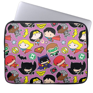 Chibi Justice League Pattern on Purple Laptop Sleeve