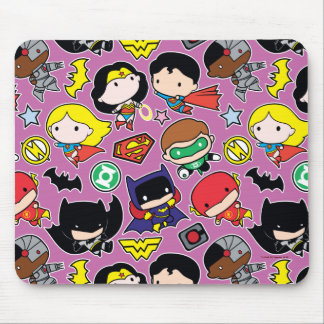 Chibi Justice League Pattern on Purple Mouse Pad